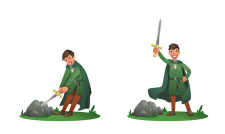 Le jeune roi Arthur retirant Excalibur de la pierre et le tenant au-dessus de la tête. Ensemble de deux postures, personnage de dessin animé. Illustration vectorielle plane. Isolé sur fond blanc.