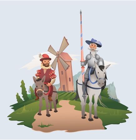 Don Quijote y Sancho Panza cabalgando sobre fondo de molino de viento. Personajes de la literatura. Ilustración de vector plano.