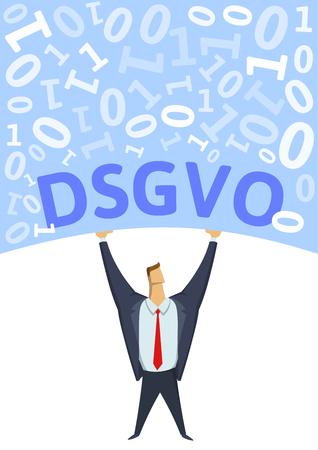 GDPR, General Data Protection Regulation. Strong man holding bulk of digital data above his head on white background. Flat vector illustration. Vertical. 免版税图像 - 114965453