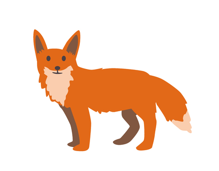 Cute red fox.Flat vector illustration. Isolated on white background Banque d'images - 114954094