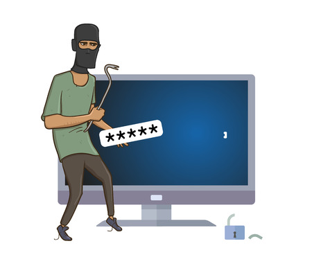 Masked robber with a puller hacking computer. Robber hacked computer password with pry bar. Comic vector illustration. Isolated on white background.