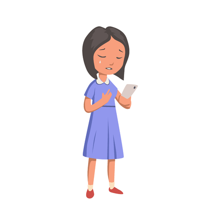Crying girl with phone. Unhappy girl in blue dress. Flat vector illustration. Isolated on white background.