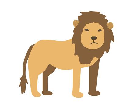 Lion. Flat vector illustration. Isolated on white background