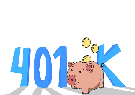 401K pension account, retirement. Concept with piggybank and letters. Colored flat vector illustration on white background. Stock Illustration - 104934270