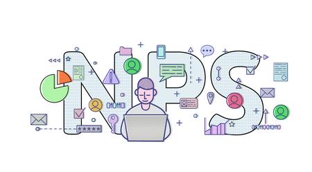 Net Promoter Score, NPS. Konzept mit Computerbenutzer, Buchstaben und Symbolen. Farbige flache Vektorillustration auf weißem Hintergrund. Vektorgrafik