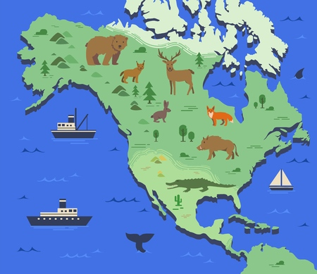 Stylized map of North America with indigenous animals and nature symbols. Simple geographical map. Flat vector illustration.
