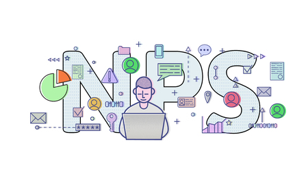 Net Promoter Score, NPS. Concept with computer user, letters and icons. Colored flat vector illustration on white background. 스톡 콘텐츠