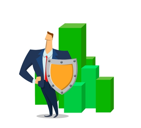 Businessman with a shield in front of geen blocks. with policy. Insurance Agent protecting assets. Flat colored vector illustration. Isolated on white background.
