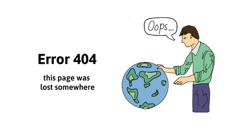 Guy looking at the globe. Text warning message this page was lost somewhere. Oops 404 error page, vector template for website. Colored flat vector illustration. Horizontal. Çizim