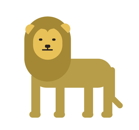Cute lion. Flat vector illustration. Isolated on white background