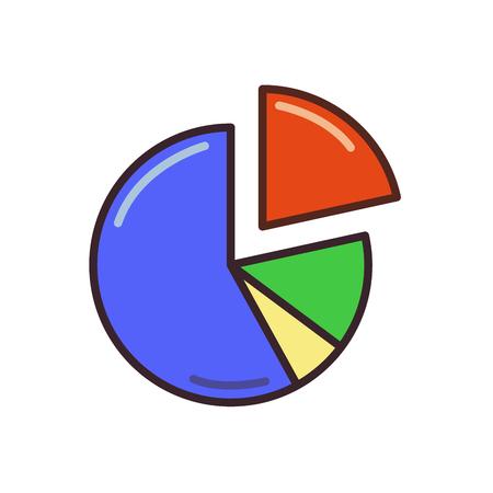Pie chart icon, percentage diagram. Line colored flat vector illustration. Isolated on white background. Ilustração