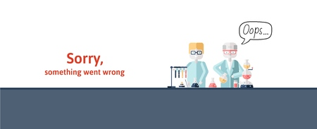 Two scientists conducting test behind the lab bench. Text warning message, sorry something went wrong. Oops 404 error page, vector template for website. Colored flat vector illustration. Horizontal