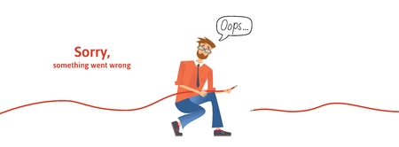 Nerdy guy with disconnected cable in his hands. Text warning message, sorry something went wrong. Oops 404 error page, vector template for website. Colored flat vector illustration. Horizontal. Stock Photo