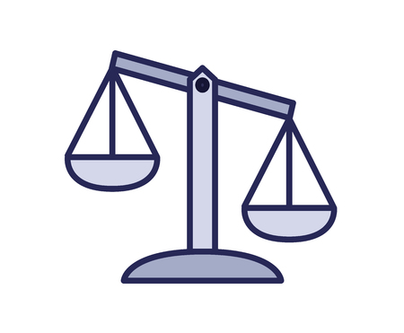 Scales icon, justice. Line colored vector illustration. Isolated on white background. Ilustrace