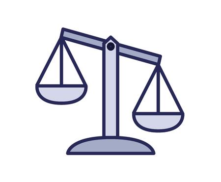 Waage-Symbol, Gerechtigkeit. Linie farbige Vektorillustration. Isoliert auf weißem Hintergrund. Vektorgrafik