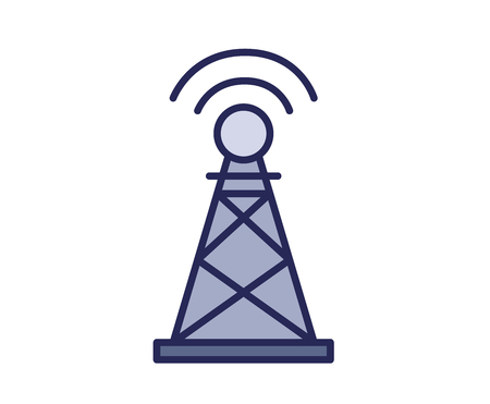 Radio beacon tower icon. Line colored vector illustration. Isolated on white background. Illustration