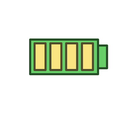 Fully charged battery icon. Line colored vector illustration. Isolated on white background.