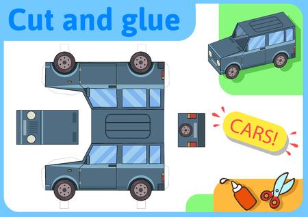 SUV Offroad Truck Papiermodell. Kleines Heimwerkerprojekt, DIY-Papierspiel. Ausschneiden, falten und kleben. Ausschnitte für Kinder. Vektorschablone.