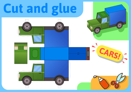 Cargo truck paper model. Small home craft project, DIY paper game. Cut out, fold and glue. Cutouts for children. Vector template.