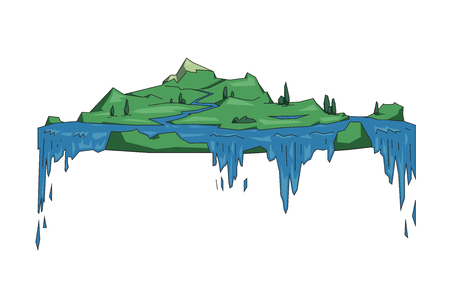 Big floating island with waterfalls, fantasy location. Flat line vector illustration. Colored cartoon style, isolated on white background. Ilustração Vetorial