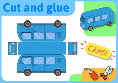 Blaues Minibus-Papiermodell. Kleines Heimwerkerprojekt, DIY-Papierspiel. Ausschneiden, falten und kleben. Ausschnitte für Kinder. Vektor-Vorlage.