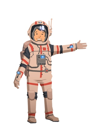 Smiling astronaut in space suit pointing out. Colorful flat vector illustration. Isolated on white background.
