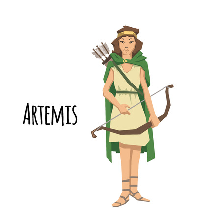 Artemis, ancient Greek goddess greek of the hunters. Ancient Greece mythology. Flat vector illustration. Isolated on white background.