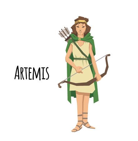 Artémis, ancienne déesse grecque grecque des chasseurs. Mythologie de la Grèce antique. Illustration vectorielle plane. Isolé sur fond blanc.