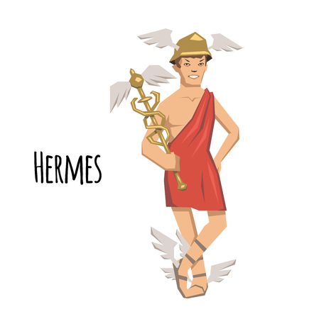 Hermes, ancient Greek god of Roadways, Travelers, Merchants and Thieves, messenger of the gods. Ancient Greece mythology. Flat vector illustration. Isolated on white background. Illustration