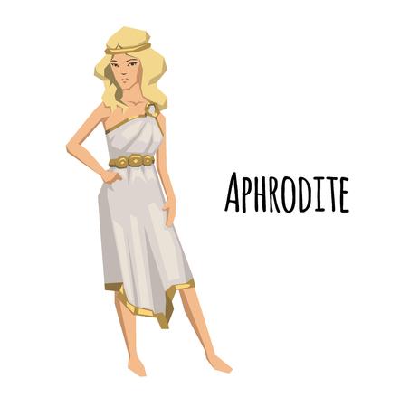 Aphrodite, antike griechische Göttin der Liebe und Schönheit. Antike Griechenland Mythologie. Flache Vektorillustration. Auf weißem Hintergrund isoliert.