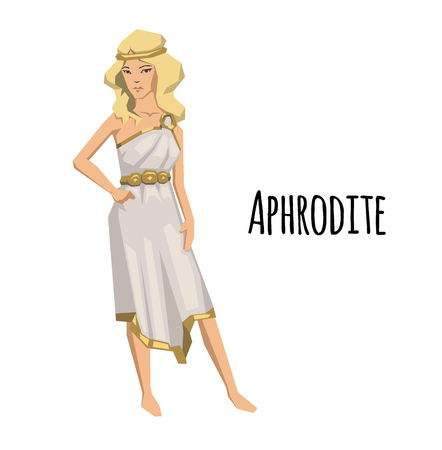 Aphrodite, ancient Greek goddess of Love and Beauty. Ancient Greece mythology. Flat vector illustration. Isolated on white background. Illustration
