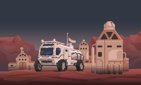 Mars rover vehicle and space colony on alien planet landscape background. Space travelling concept. Flat vector illustration. Horizontal.