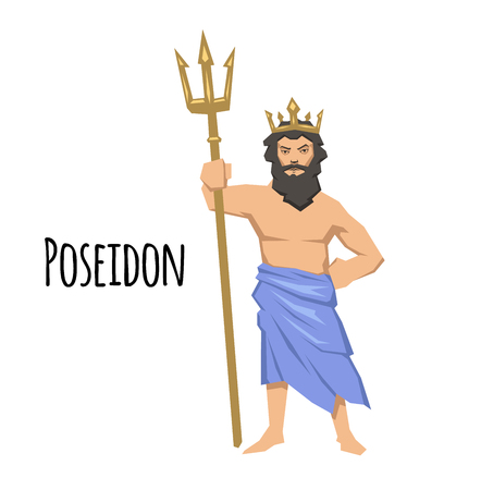Poseidon, ancient Greek god of the sea with trident. Ancient Greece mythology. Flat vector illustration. Isolated on white background.