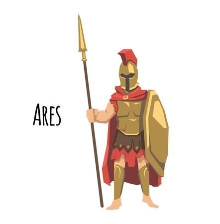 Ares, antiguo dios griego de la guerra. Mitología de la antigua Grecia. Ilustración de vector plano. Aislado sobre fondo blanco.