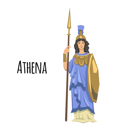 Athena, ancient Greek goddess of Wisdom, War, and Useful Arts. Ancient Greece mythology. Flat vector illustration. Isolated on white background.