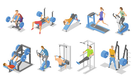 People and training apparatus in the gym. Isometric set of fitness equipment icons. Flat vector illustration. Isolated on white background.