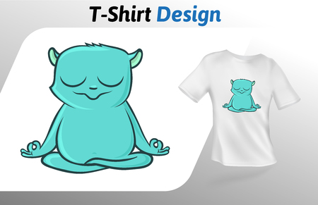 Funny green lemur meditating t-shirt print. Colorful mock up t-shirt design template. Vector template, isolated on white background. Illustration