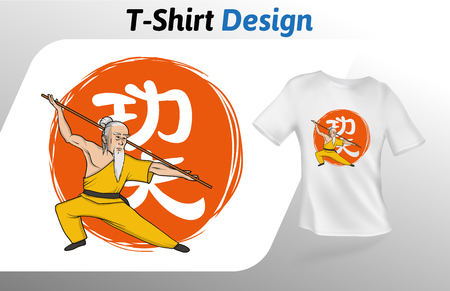 Kung fu master on Chinese kung fu hieroglyph t-shirt print. Colorful mock up t-shirt design template. Vector template, isolated on white background.