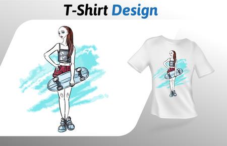 Chica con patineta en estampado de camiseta de fondo abstracto. Maqueta colorida plantilla de diseño de camiseta. Plantilla de vector, aislado sobre fondo blanco.