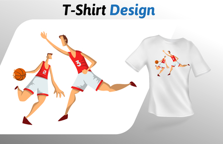 Basketball players in the game, t-shirt print. Colorful mock up t-shirt design template. Vector template, isolated on white background. Illustration