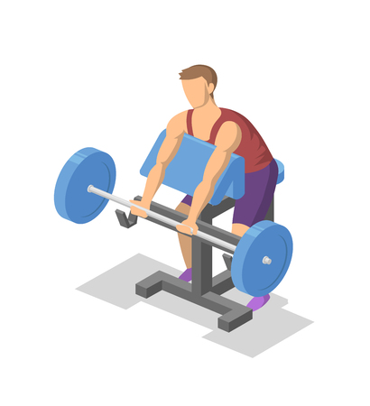 Man working out with barbell on preacher bench in the gym. Isometric illlustration of fitness equipment in action. Flat vector illustration. Isolated on white background.