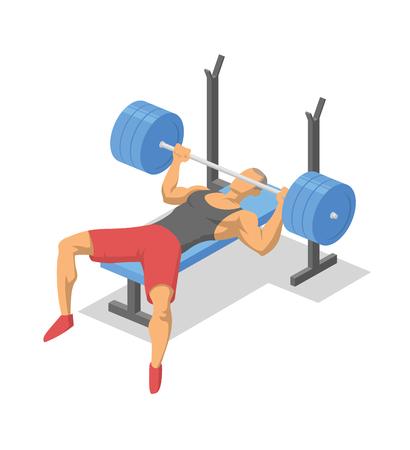 Hombre trabajando con barra acostado en un banco. Press de banca. Ilustración isométrica de equipos de fitness en acción. Ilustración de vector plano. Aislado sobre fondo blanco. Ilustración de vector
