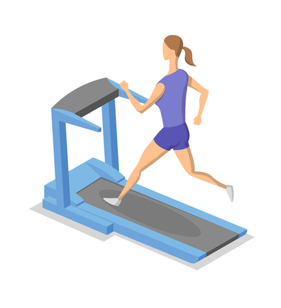 Woman exercising on treadmill. Isometric illlustration of fitness equipment in action. Flat vector illustration. Isolated on white background. Illustration