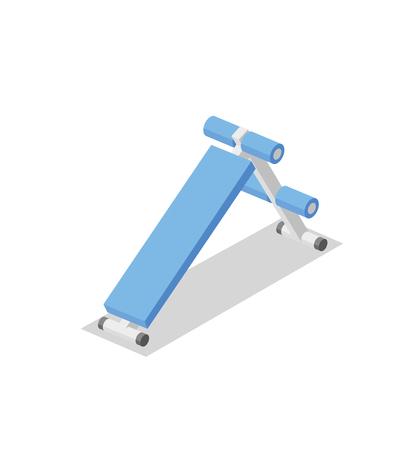 Banc abdominal, appareil d'entraînement pour le gymnase. Illustration isométrique de l'équipement de remise en forme. Illustration vectorielle plane. Isolé sur fond blanc.