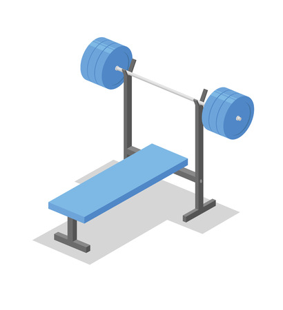 Barbell bench press, training apparatus for the gym. Fitness equipment isometric illustration. Flat vector illustration. Isolated on white background.