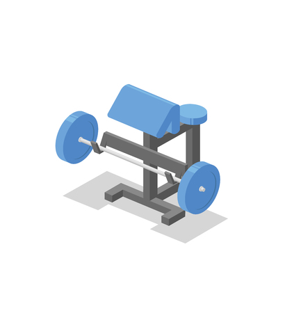 Preacher bench, training apparatus for the gym. Fitness equipment isometric illustration. Flat vector illustration. Isolated on white background. Vectores