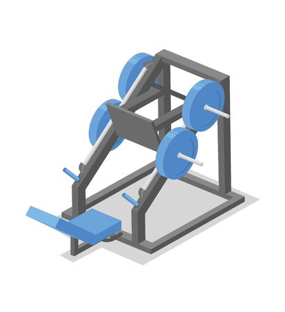 Leg press machine, training apparatus for the gym. Fitness equipment isometric illustration. Flat vector illustration. Isolated on white background.