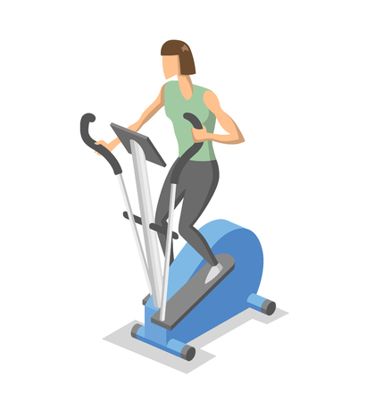 Woman working out on elliptical trainer in the gym. Isometric illlustration of fitness equipment in action. Flat vector illustration. Isolated on white background. Vetores
