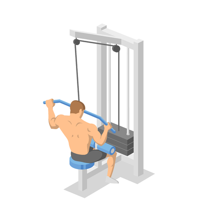 Man working out on lat pull down machine in the gym. Isometric illlustration of fitness equipment in action. Flat vector illustration. Isolated on white background. Illustration