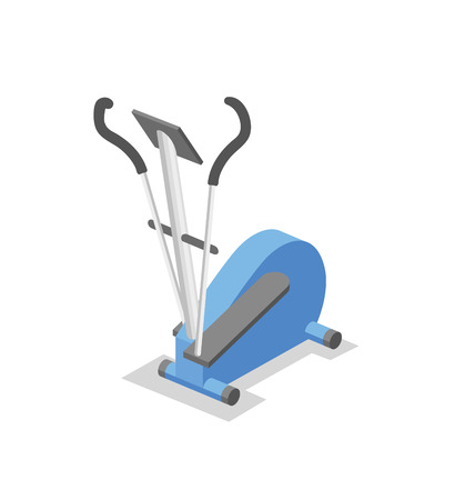 Cross-trainer, training apparatus for the gym. Fitness equipment isometric illustration. Flat vector illustration. Isolated on white background.